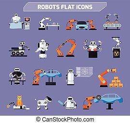 set, robot, icone