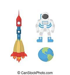 set, rocket., illustrazione, pianeta, astronauta, vettore, space:, terra