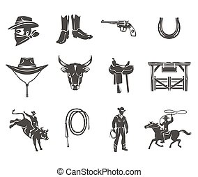 Set rodeo icons - Set of vector rodeo icons, cowboys...