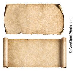 set, rollen, ouderwetse , vrijstaand, of, papier, witte , perkament