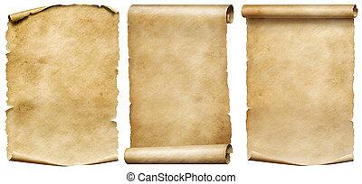 set, rollen, ouderwetse , vrijstaand, perkament, witte , manuscripten, of
