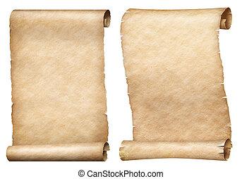 set, rollen, vrijstaand, of, papier, witte , perkament