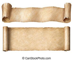set, rollen, vrijstaand, of, papier, witte , smalle , perkament