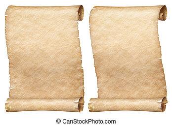 set, rollen, vrijstaand, of, papier, witte , soortgelijk, perkament