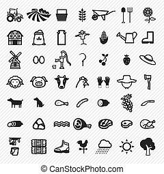 set., rolnictwo, ilustracja, ikony
