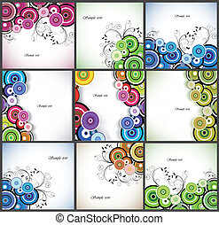 set, romantische, abstract, achtergrond., vector, floral