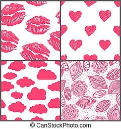 set, romantische, afdrukken, doodle, seamless, motieven, lipsticks