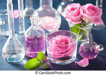 set, rosa, alchimia, chimico, aromatherapy, fiaschi, fiori