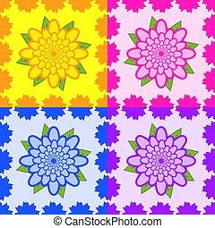 set, rosa, viola, foglie, seamless, modelli, giallo, verde, fiori, blu