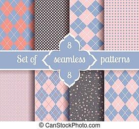 Set rose quartz and serenity geometric Patterns. 2016 colors...