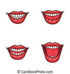 set, rossetto, labbra, lucido, femmina, sexy, rosso