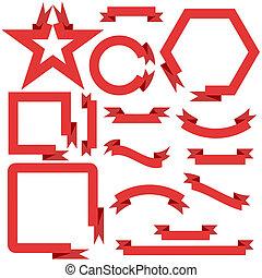 set, rosso, nastri, e, bandiere, vettore, illustrazione
