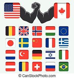 set, rotondo, bandiere, mondo