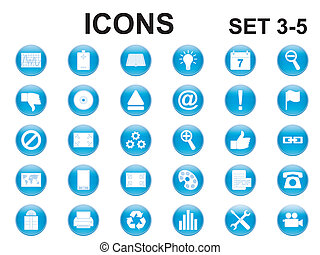 set, rotondo, icone