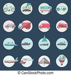 set, rotondo, trasporto, icone