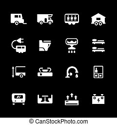 set, roulotte, campeggiatore, roulotte, icone