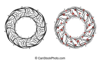 Set round framework of branches with berries. Vector element for invitations, greeting cards, and your design.