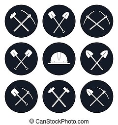Set Round Icons of Construction Tools - Set Round Icons of...