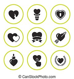 Set round icons of heart