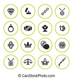 Set round icons of jewelry