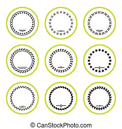 Set round icons of laurel wreath and modern frames