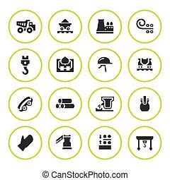 Set round icons of metallurgy