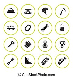 Set round icons of mountaineering