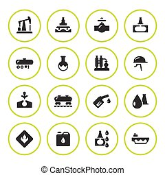 Set round icons of oil industry