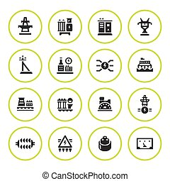 Set round icons of power industry