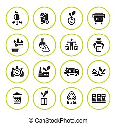 Set round icons of recycling