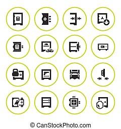 Set round icons of safe