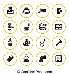 Set round icons of sewerage isolated on white. Vector...