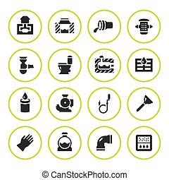 Set round icons of sewerage