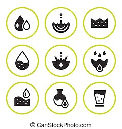 Set round icons of water