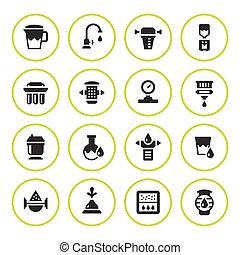 Set round icons of water filters