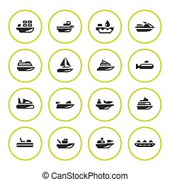 Set round icons of water transport