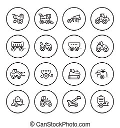 Set round line icons of agricultural machinery isolated on...