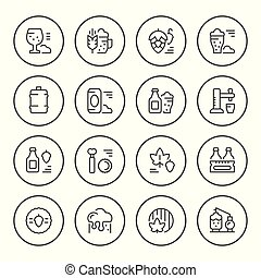 Set round line icons of beer isolated on white. Vector...