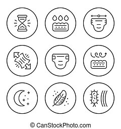 Set round line icons of diaper