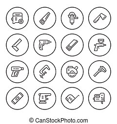Set round line icons of electric and hand tool
