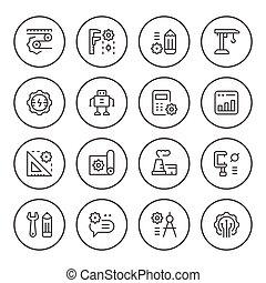 Set round line icons of engineering