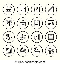 Set round line icons of insulation isolated on white. Vector...