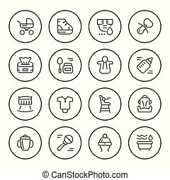 Set round line icons of newborn isolated on white. Vector...