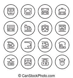 Set round line icons of railroad
