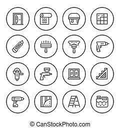 Set round line icons of repair