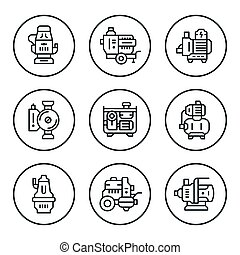 Set round line icons of water pump