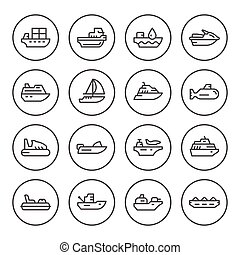 Set round line icons of water transport