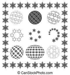 Set round sphere with stars of David. - Set round sphere...