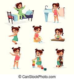 set, routine, quotidiano, vettore, attività, ragazza, cartone animato