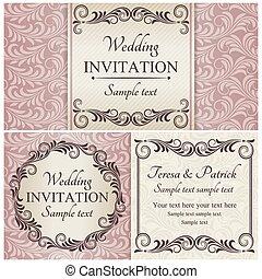 set, roze, barok, huwelijk uitnodiging